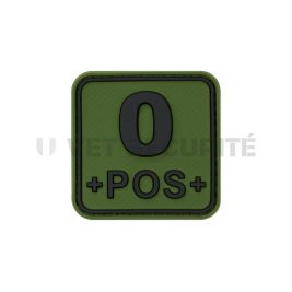 Patch carré groupe sanguin O+ vert OD - JTG