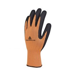GANT TRICOT POLYESTER AVEC PAUME ENDUITE MOUSSE LATEX Orange fluo/noir - DELTA PLUS