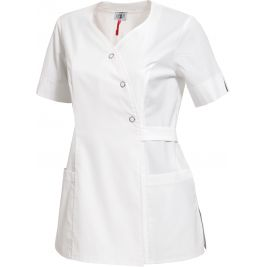 TUNIQUE FEMME PEPITA ANTI-TACHES MC CPLYCRA PEPITA BLANC - HASSON