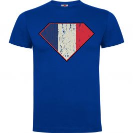 Tee-shirt SUPERFRENCH bleu 100% coton - Army Design by Summit Outdoor