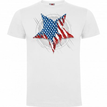 Tee-shirt 100% coton Étoile US blanc - Army Design by Summit Outdoor